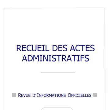Recueil des actes administratif - Août 2018